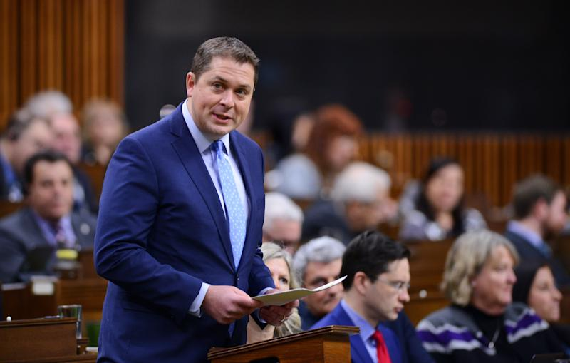 Conservative Leader Andrew Scheer delivers a statement in the House of Commons on Feb. 18, 2020. (Photo: Sean Kilpatrick/CP)
