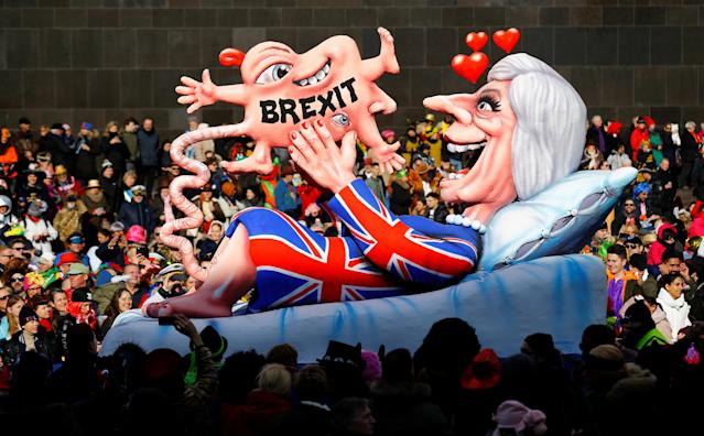 "<p>A ""BREXIT"" carnival float at the traditional ""Rosenmontag"" Rose Monday carnival parade in Duesseldorf, Germany, Feb. 12, 2018. (Photo: Thilo Schmuelgen/Reuters) </p>"