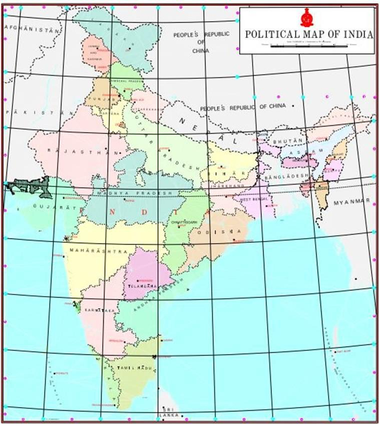 new map of india, new india map, new india political map, J&K UT, Ladakh UT