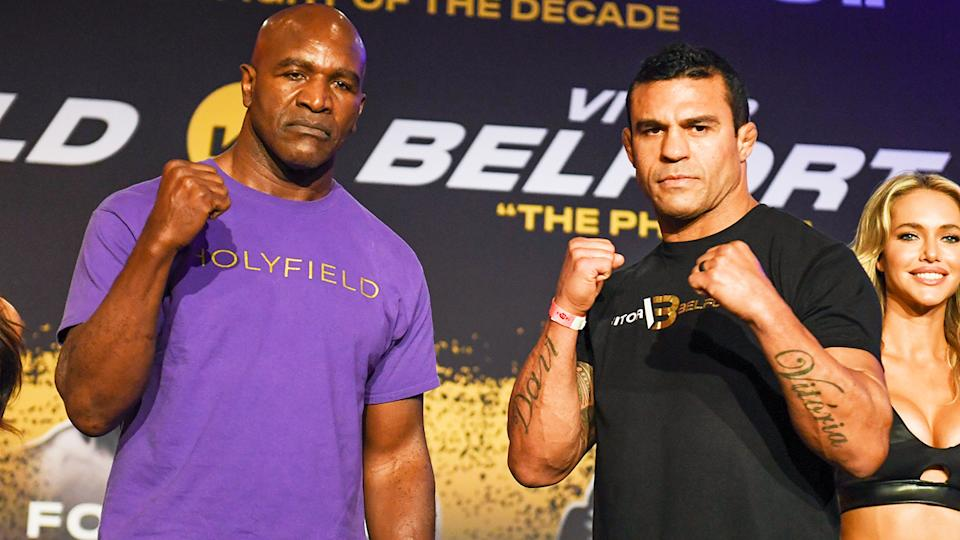 Evander Holyfield and Vitor Belfort, pictured here at a press conference ahead of their heavyweight fight.