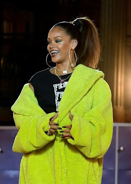 Rihanna on the catwalk after her Fenty show