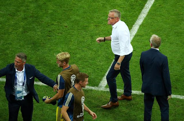 Soccer Football - World Cup - Group F - Germany vs Sweden - Fisht Stadium, Sochi, Russia - June 23, 2018 Sweden coach Janne Andersson clashes with the Germany bench after the match REUTERS/Hannah McKay