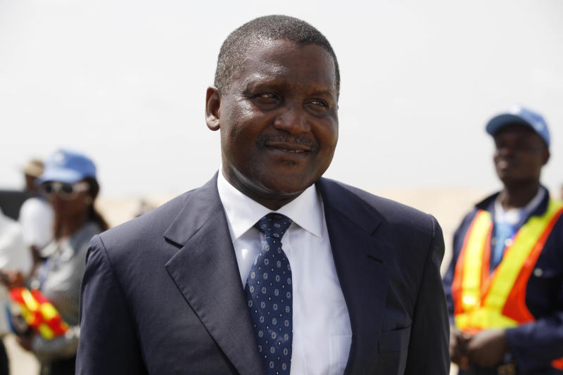In this photo taken,Thursday, Feb. 21, 2013, Aliko Dangote,said to be Africa's richest man attends a function in Lagos, Nigeria. Ventures Africa a pan-African magazine says Africa has many more billionaires than previously reported, 55 of them worth $143.88 billion . The report predictably identifies Nigerian manufacturer Aliko Dangote as the richest African worth $20.2 billion, among 20 Nigerians listed. (AP Photo/Sunday Alamba)