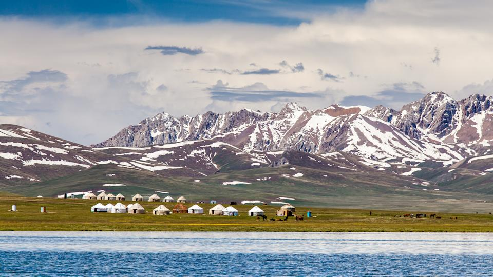 Song Kul - high alpine lake in the Tian Shan Mountains of Kyrgyzstan