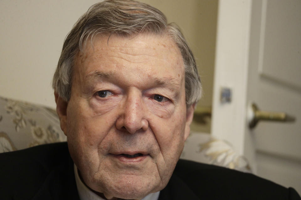 Australian Cardinal George Pell is interviewed by The Associated Press in his home at the Vatican, Thursday, May 20, 2021. Pell, who was convicted and then acquitted of sex abuse charges in his native Australia, is spending his newfound freedom in Rome. Pell strongly denied the charges and his supporters believe he was scapegoated for the Australian Catholic Church's botched response to clergy sexual abuse. (AP Photo/Gregorio Borgia)
