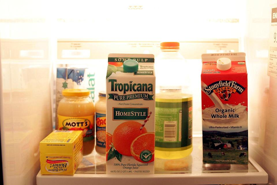 <p>Ever wonder what Tony eats when he's not leading a life of crime? The prop fridge features orange juice, butter, milk, apple sauce, and plenty of Gatorade.</p>