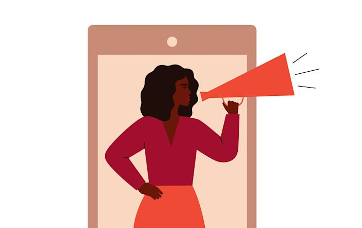 Female activist protests from the cell phone screen. Young Black woman holds megaphone and tells her speech. vector illustration