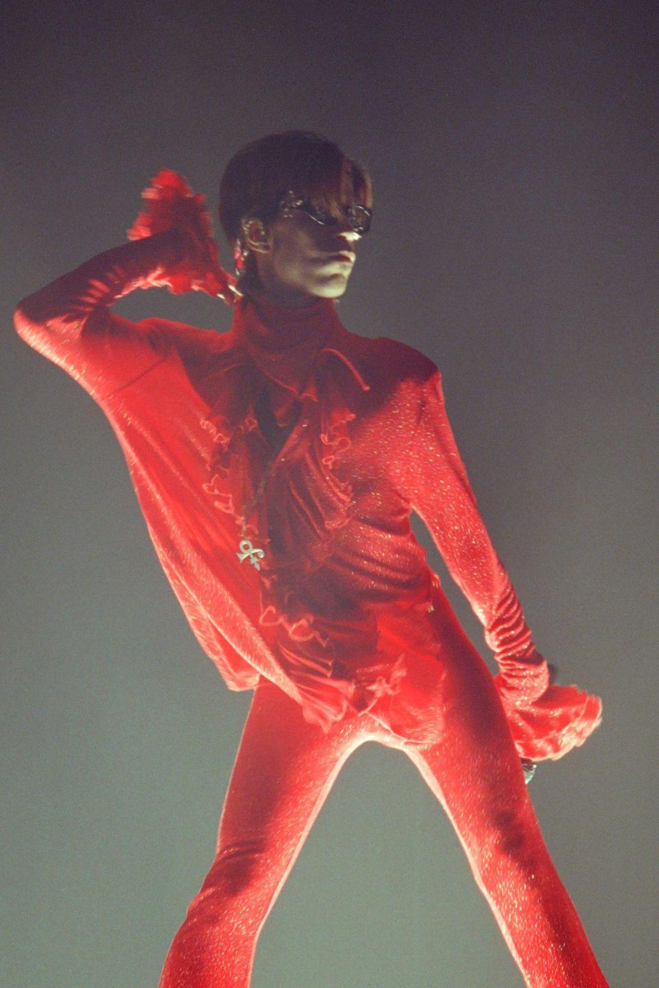 <p>Prince performing in Paris. No one ever looked better at 40—or any age—than Prince. </p>