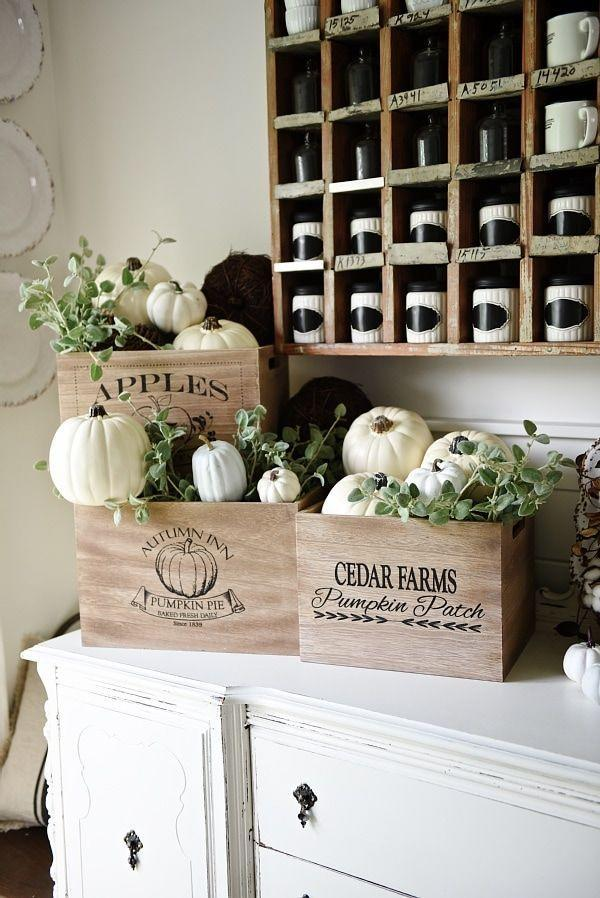 """<p>Gather white pumpkins and greenery within rustic crates for a lovely, autumnal vignette. They'll look equally beautiful in a dining room, guest bedroom, or front porch.</p><p><strong>Get the tutorial at <a href=""""https://www.lizmarieblog.com/2015/09/rustic-fall-crates/"""" rel=""""nofollow noopener"""" target=""""_blank"""" data-ylk=""""slk:Liz Marie Blog"""" class=""""link rapid-noclick-resp"""">Liz Marie Blog</a>.</strong></p><p><strong><a class=""""link rapid-noclick-resp"""" href=""""https://go.redirectingat.com?id=74968X1596630&url=https%3A%2F%2Fwww.walmart.com%2Fsearch%2F%3Fquery%3Dfarmhouse%2Bcrates&sref=https%3A%2F%2Fwww.thepioneerwoman.com%2Fhome-lifestyle%2Fdecorating-ideas%2Fg36664123%2Fwhite-pumpkin-decor-ideas%2F"""" rel=""""nofollow noopener"""" target=""""_blank"""" data-ylk=""""slk:SHOP FARMHOUSE CRATES"""">SHOP FARMHOUSE CRATES</a><br></strong></p>"""