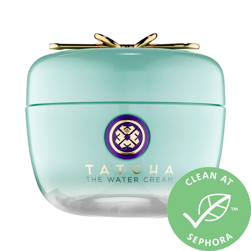 """<h3>Tatcha The Water Cream</h3><br>While this <a href=""""https://www.refinery29.com/en-us/tatcha-water-cream-moisturizer-review"""" rel=""""nofollow noopener"""" target=""""_blank"""" data-ylk=""""slk:bestselling cream"""" class=""""link rapid-noclick-resp"""">bestselling cream</a> is luxe (read: pricey), it's also a game-changing (read: sworn-by) solution for oily complexions — with oil-curbing powers that also deliver on skin-plumping hydration and a natural glow that makes highlighter optional.<br><br><strong>Tatcha</strong> The Water Cream, $, available at <a href=""""https://go.skimresources.com/?id=30283X879131&url=https%3A%2F%2Fwww.sephora.com%2Fproduct%2Fthe-water-cream-P418218"""" rel=""""nofollow noopener"""" target=""""_blank"""" data-ylk=""""slk:Sephora"""" class=""""link rapid-noclick-resp"""">Sephora</a>"""