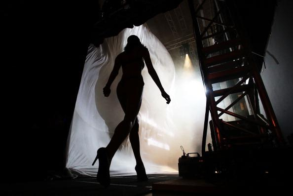 A model prepares backstage ahead of the Bendon show as part of the Mercedes-Benz Fashion festival Sydney 2012 at Sydney Town Hall on August 21, 2012 in Sydney, Australia. (Photo by Matt King/Getty Images)