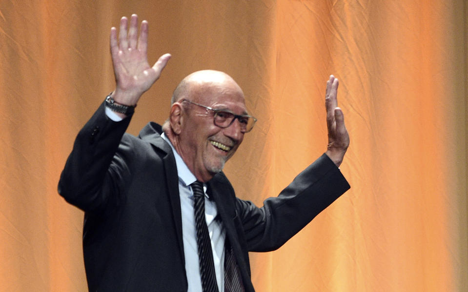 FILE - Lorenzo Soria appears on stage at the Hollywood Foreign Press Association's Annual Grants Banquet on July 31, 2019, in Beverly Hills, Calif. Soria, president of the Hollywood Foreign Press Association and former editor of the Italian news weekly L'Espresso, died Friday, the association said. He was 68. (Photo by Chris Pizzello/Invision/AP, File)