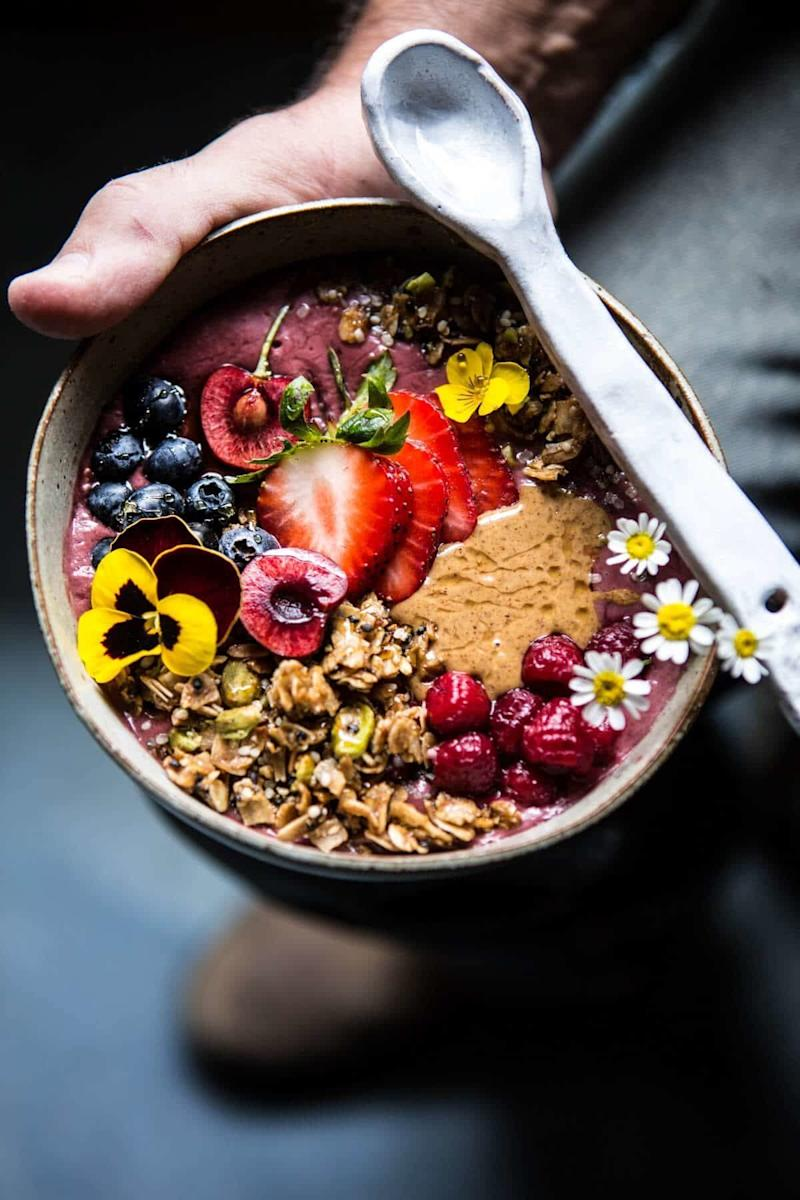 """<strong>Get the <a href=""""https://www.halfbakedharvest.com/peanut-butter-acai-bowl/?highlight=smoothie%20bowl"""" target=""""_blank"""">Peanut Butter Acai Bowl</a> recipe from Half Baked Harvest</strong>"""