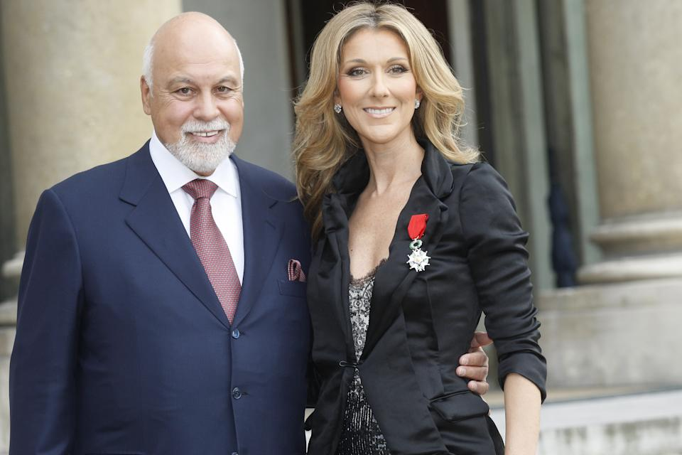 FRANCE - MAY 22:  Celine Dion receives the 'Legion d'Honneur' by French President Nicolas Sarkozy, at the Elysee Palace, in Paris, France on May 22nd, 2008 - Celine Dion and her husband Rene.  (Photo by Thomas SAMSON/Gamma-Rapho via Getty Images)