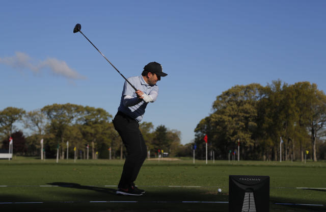 Francesco Molinari, of Italy, hits on the driving range before a practice round for the PGA Championship golf tournament, Wednesday, May 15, 2019, at Bethpage Black in Farmingdale, N.Y. (AP Photo/Julie Jacobson)