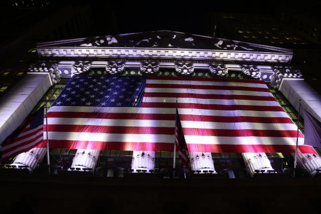 An American flag hangs on the front of the New York Stock Exchange. (AP Photo/Peter Morgan, File)