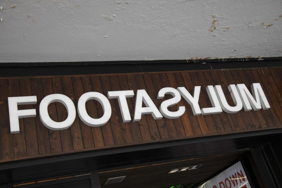 Sign for the brand and shoe shop Foot Asylum in Birmingham, United Kingdom. (photo by Mike Kemp/In PIctures via Getty Images)