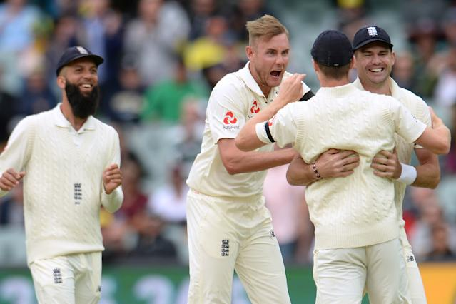 Moeen Ali, Stuart Broad, Chris Woakes and Jimmy Anderson (L-R) will be England's prime bowlers, with Ben Stokes as an all-rounder. (Photo by Philip Brown/Getty Images)