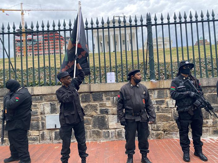 Members of BLM 757 stand outside the capitol building in Richmond, VirginiaRichard Hall / The Independent