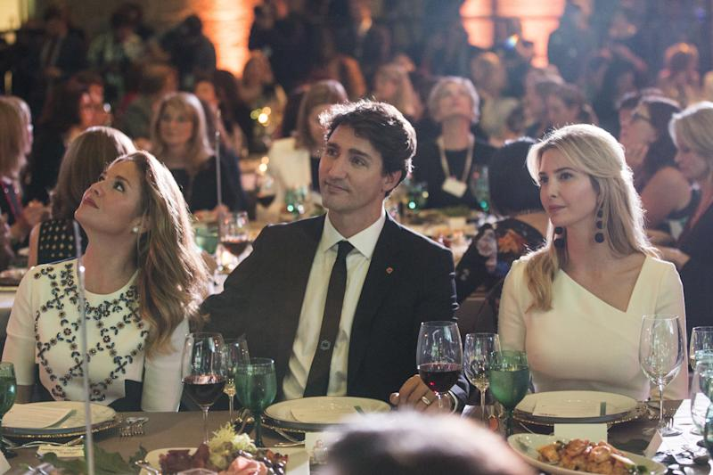 Sophie Trudeau, Canada's first lady, left, Justin Trudeau, Canada's prime minister, center, and Ivanka Trump listen during the Fortune's Most Powerful Women conference in Washington, D.C., U.S., on Tuesday, Oct. 10, 2017. (Bloomberg via Getty Images)