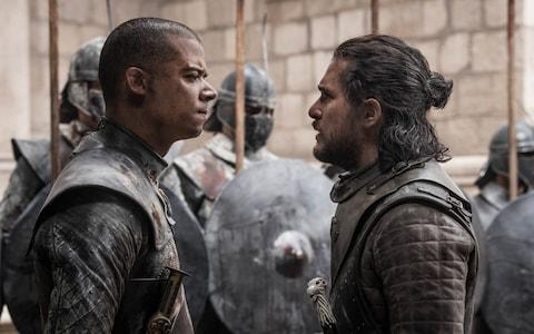 Grey Worm and Jon Snow face off in the finale - Credit: HBO