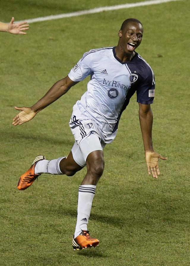 Sporting KC's Ike Opara celebrates after scoring against Real Salt Lake in the second half during an MLS soccer game Saturday, July 20, 2013, in Sandy, Utah. Sporting KC defeated Real Salt Lake 2-1. (AP Photo/Rick Bowmer)