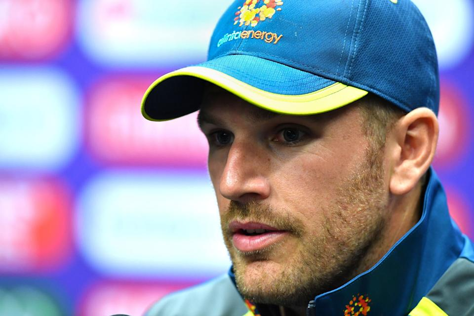 Australia's captain Aaron Finch speaks at a press conference at The County Ground in Taunton, southwest England on June 11, 2019, ahead of their 2019 World Cup match against Pakistan. (Photo by Saeed KHAN / AFP) / RESTRICTED TO EDITORIAL USE        (Photo credit should read SAEED KHAN/AFP/Getty Images)