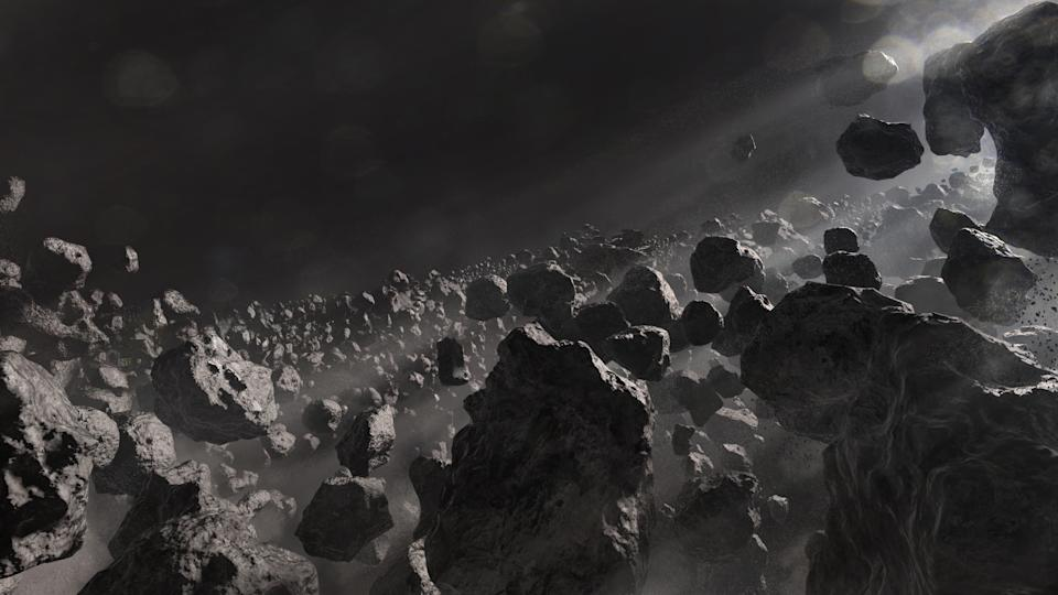 Starring in wonder across a field of asteroids in the depth of space. This is an original 3d render / illustration.