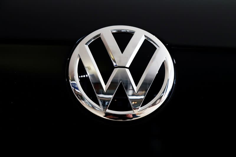 The logo of German carmaker Volkswagen is seen on car in a showroom of a Volkswagen car dealer in Brussels