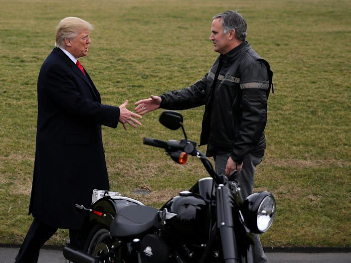 President Donald Trump and then-CEO of Harley-Davidson, Matt Levatich.