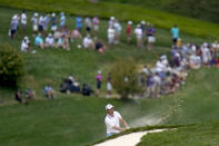 Patrick Cantlay hits out a sand trap on the fifth hole during the final round of the BMW Championship golf tournament, Sunday, Aug. 29, 2021, at Caves Valley Golf Club in Owings Mills, Md. (AP Photo/Julio Cortez)