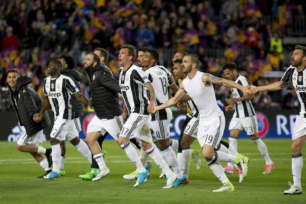 Juventus celebrate knocking out Barcelona (Getty)