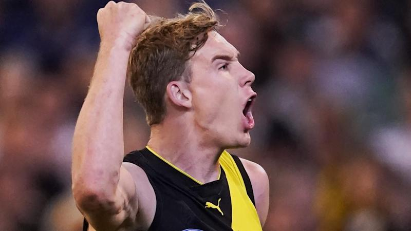 Tom Lynch kicked five goals as Richmond ended Geelong's season with a 19-point victory at the MCG