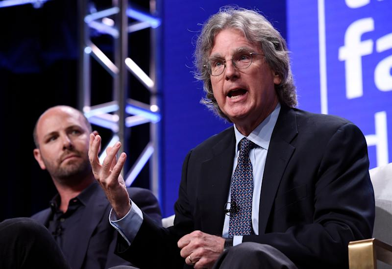"Facebook investor and venture capitalist Roger McNamee, right, addresses reporters as producer James Jacoby looks on during a panel discussion on the PBS Frontline special ""The Facebook Dilemma"" at the 2018 Television Critics Association Summer Press Tour at the Beverly Hilton, Tuesday, July 31, 2018, in Beverly Hills, Calif. (Photo by Chris Pizzello/Invision/AP)"