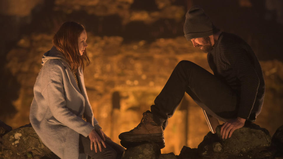 Karen Gillan and Lee Pace in 'The Party's Just Beginning'. (Credit: Blue Finch Film)