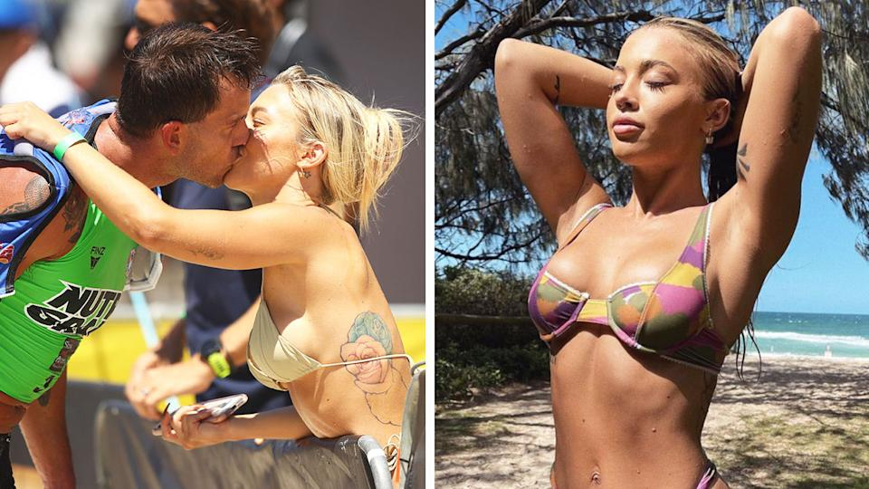 Tammy Hembrow (pictured right) posing for a photo in a bikini and kissing her boyfriend Matt Poole (pictured left) at the finish line.