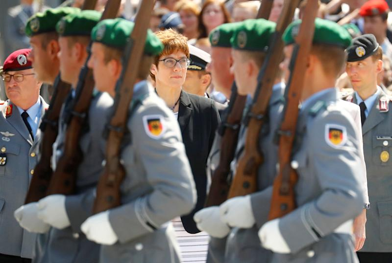 Incoming German defense minister Annegret Kramp-Karrenbauer attends a welcoming ceremony at the Defense Ministry in Berlin, Germany, July 17, 2019. REUTERS/Hannibal Hanschke