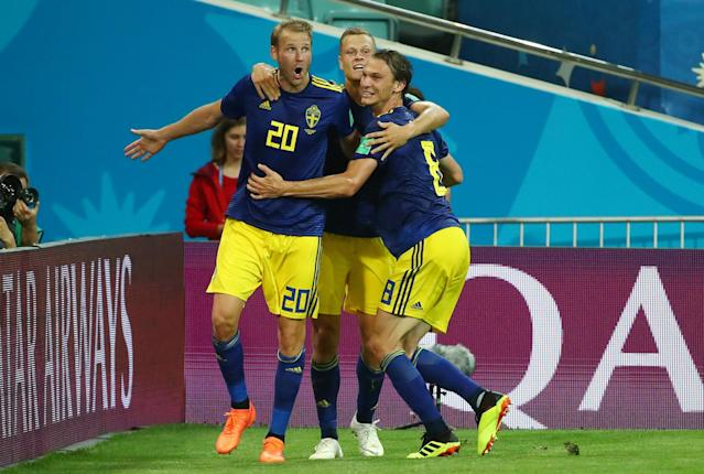 Soccer Football - World Cup - Group F - Germany vs Sweden - Fisht Stadium, Sochi, Russia - June 23, 2018 Sweden's Ola Toivonen celebrates scoring their first goal with team mates REUTERS/Michael Dalder