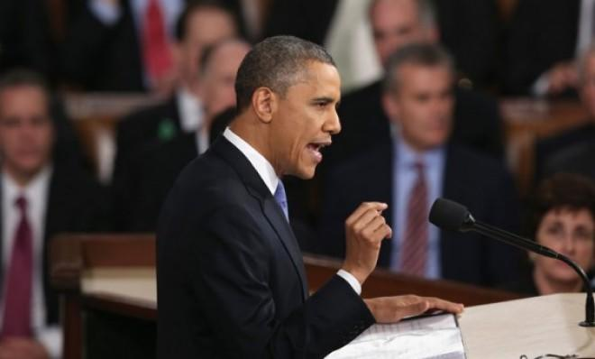 President Barack Obama delivers his State of the Union speech before a joint session of Congress on February 12.