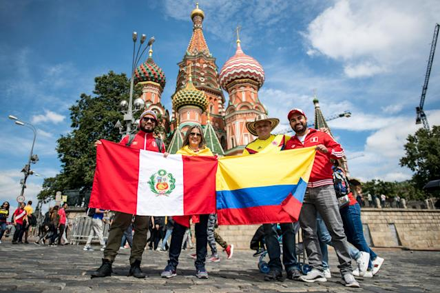 <p>Global celebration: Fans from all over the world flocked to Moscow to savour the big tournament atmosphere. (Getty) </p>