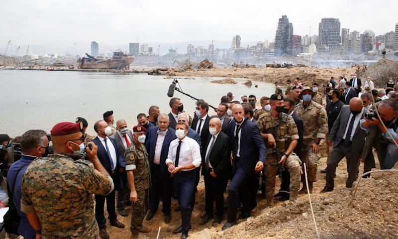 French president Emmanuel Macron tours the wreckage last week.