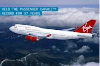 """<p>Having held the passenger capacity record for 37 years, the original jumbo jet is easily distinguished by the hump created by the upper deck that's usually reserved for first class passengers.</p><p>✈ <strong><a href=""""https://www.popularmechanics.com/flight/airlines/a15172254/747-badass-plane/"""" rel=""""nofollow noopener"""" target=""""_blank"""" data-ylk=""""slk:Why the 747 is Such a Badass Plane"""" class=""""link rapid-noclick-resp"""">Why the 747 is Such a Badass Plane</a></strong></p><p>The <a href=""""https://www.popularmechanics.com/flight/g2894/badass-boeing-747s/"""" rel=""""nofollow noopener"""" target=""""_blank"""" data-ylk=""""slk:747"""" class=""""link rapid-noclick-resp"""">747</a> was more than twice the size of any existing airliner of the day. Back before computer-aided design, engineers hand-sketched 75,000 technical drawings and built a full-scale plywood mockup to ensure the pieces would fit. Boeing even built the world's largest building at that time just to manufacture the behemoth. </p><p>The plane was a masterpiece of industrial design. So good, in fact, that it stalled further advancements in passenger aviation. The 747's passenger-carrying duties were expected to last only until Boeing finished design and development of their supersonic transport intended to compete with the <a href=""""https://www.popularmechanics.com/flight/airlines/a27206102/concorde-badass-plane/"""" rel=""""nofollow noopener"""" target=""""_blank"""" data-ylk=""""slk:Concorde"""" class=""""link rapid-noclick-resp"""">Concorde</a> and the Russian Tu-144. Instead, the 747 shattered its expected limit of 400 units. To date, 1,500 have been sold and many more are on order.</p><p>The 747 has moved more than 3.5 billion people—the equivalent of half the world's population. Its jobs have included transporting the President of the United States and ferrying the Space Shuttle piggyback-style. Carriers are starting to <a href=""""https://www.popularmechanics.com/flight/airlines/a26290817/boeing-747-50th-birthday/"""" rel=""""nofollow noopener"""" target=""""_blank"""" data-yl"""