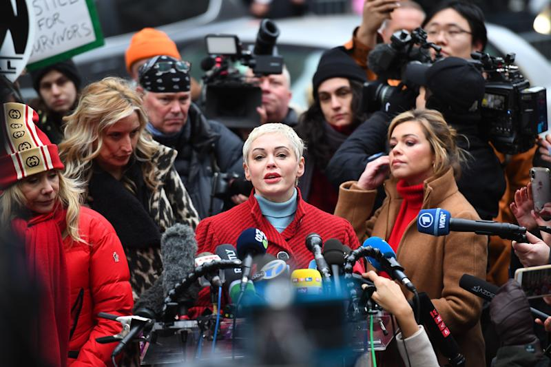 Actress Rose McGowan speaks during a press conference, after Harvey Weinstein arrived at State Supreme Court in Manhattan January 6, 2020 on the first day of his criminal trial on charges of rape and sexual assault in New York City. - Harvey Weinstein's high-profile sex crimes trial opens on Monday, more than two years after a slew of allegations against the once-mighty Hollywood producer triggered the #MeToo movement that led to the downfall of dozens of powerful men. The disgraced movie mogul faces life in prison if convicted in a New York state court of predatory sexual assault charges, in a trial expected to last six weeks. (Photo by Johannes EISELE / AFP) (Photo by JOHANNES EISELE/AFP via Getty Images)