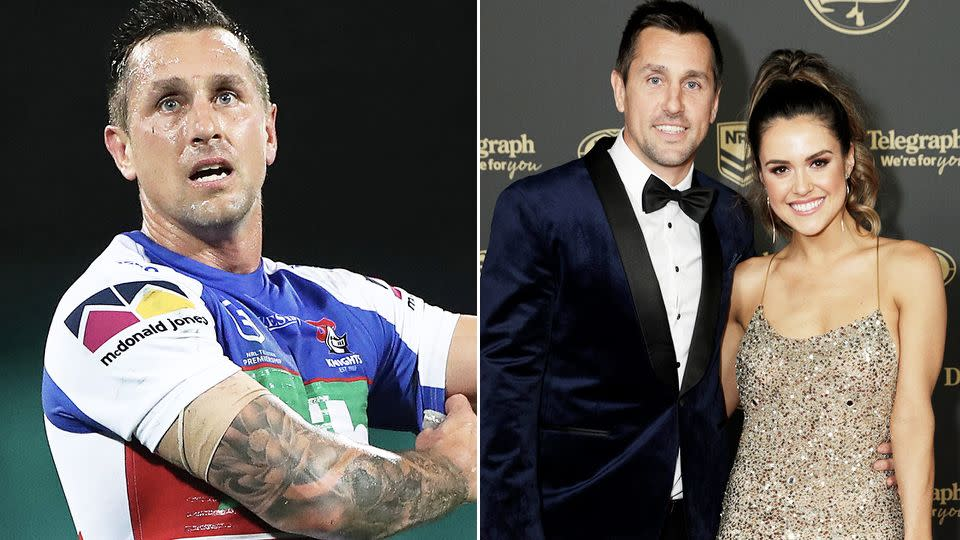 Mitchell Pearce is seen here with fiancee Kristin Scott at an awards night.