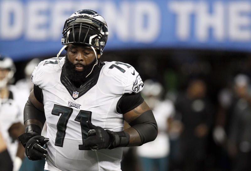 Philadelphia Eagles tackle Jason Peters (71) is one of the few reliable offensive line options available in free agency. (AP Photo/Duane Burleson, File)