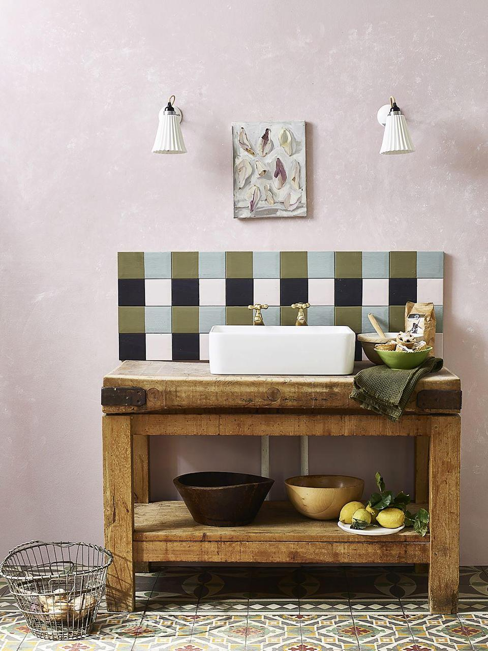 """<p>For a budget-friendly update, consider painting existing tiles. Chalk paint adheres well to glazed tiles, but does require sealing and is best used on areas not exposed to harsh cleaning or excess water.</p><p>Pictured: Tiles in Olive, Athenian Black, Antoinette and Duck Egg Blue matt chalk paint; <a href=""""https://www.anniesloan.com/"""" rel=""""nofollow noopener"""" target=""""_blank"""" data-ylk=""""slk:Annie Sloan"""" class=""""link rapid-noclick-resp"""">Annie Sloan</a></p>"""