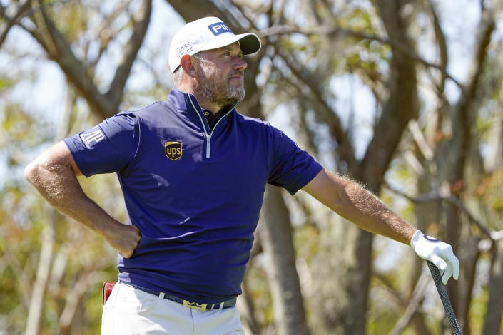 Lee Westwood, of England, watches his shot from the third tee during the final round of the Arnold Palmer Invitational golf tournament Sunday, March 7, 2021, in Orlando, Fla. (AP Photo/John Raoux)