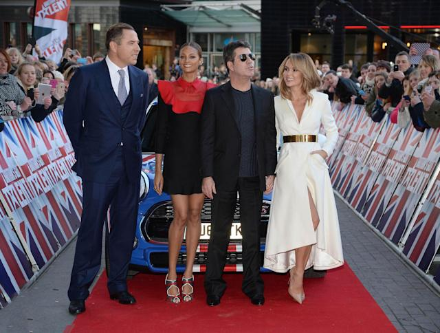 "Simon Cowell, Alesha Dixon, David Walliams and Amanda Holden at the Lowry Theatre for Day 3 of the Manchester auditions for ""Britain's Got Talent"". (KGC-246/STAR MAX/IPx)"