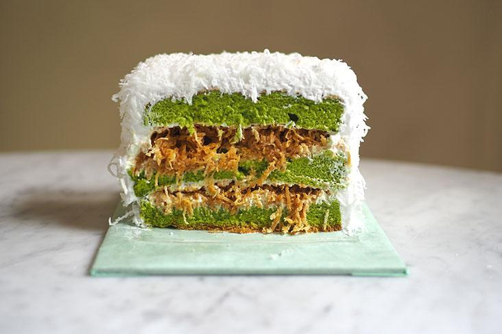 End your meal with a light sweet note by getting their signature 'ondeh ondeh' cake with layers of pandan cake, freshly grated coconut and an airy cream