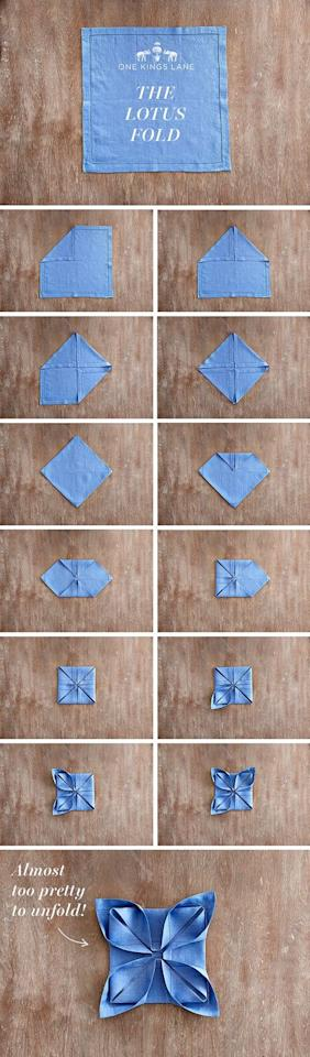"""<p>Unexpected and exciting, this lotus napkin fold will impress all of your guests, no doubt about it. The only problem: They might find it too beautiful to unfold.</p><p><strong>Get the tutorial at <a href=""""https://www.onekingslane.com/live-love-home/napkin-folding"""" target=""""_blank"""">One Kings Lane</a>.</strong></p><p><strong><a class=""""body-btn-link"""" href=""""https://www.amazon.com/Gee-Moda-Cloth-Napkins-Polyester/dp/B0771TX8QQ?tag=syn-yahoo-20&ascsubtag=%5Bartid%7C10050.g.3115%5Bsrc%7Cyahoo-us"""" target=""""_blank"""">SHOP BLUE NAPKINS</a><br></strong></p>"""